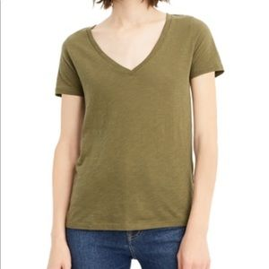 J. Crew Vintage Cotton V Neck Tee - Green